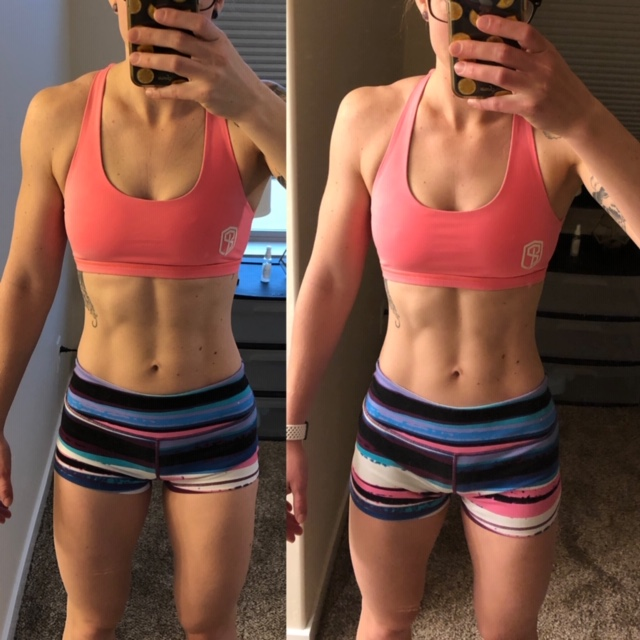 Before and after picture of Caroline's 3-day fast