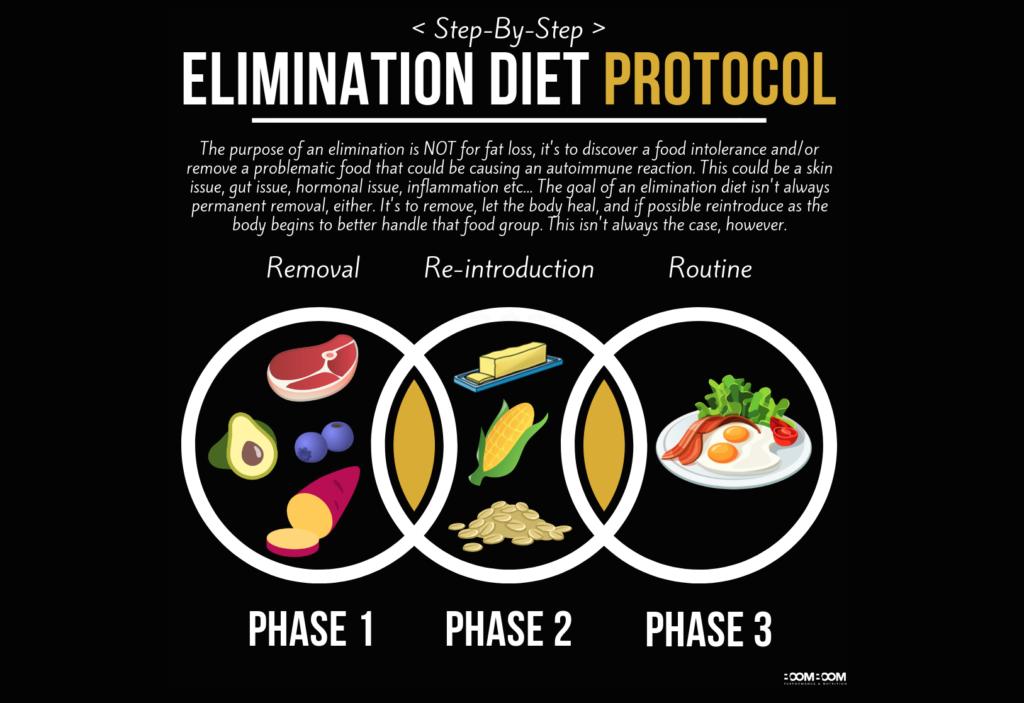 Elimination diet protocol infographic breakdown