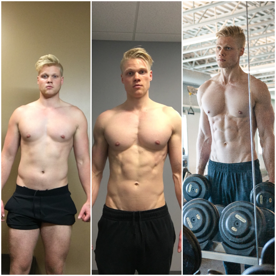 Before and after picture of client, Jeremiah